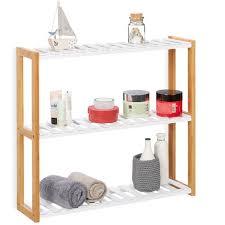 relaxdays wall shelf unit with 3 tiers
