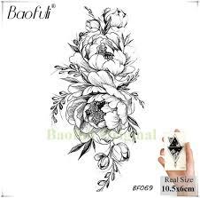 Baofuli 20 стили женщины черные цветы татуировки передачи поддельные 3d боди арт