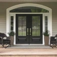 black double front doors. Fine Black Painted Front Door White Trim Planters In Of Side Panels Chairs  Next To Them Inside Black Double Front Doors U