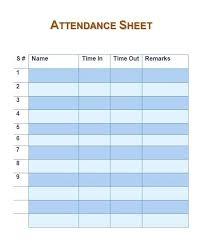 Employee Daily Attendance Sheet Attendance Sheet Template