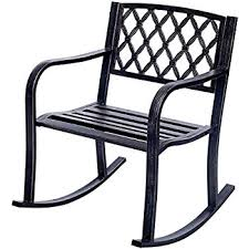 R Costway Patio Metal Rocking Chair Outdoor Porch Seat Backyard Glider Rocker  Bronze