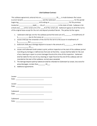 Standard Sublease Agreement Image Collections - Agreement Letter ...