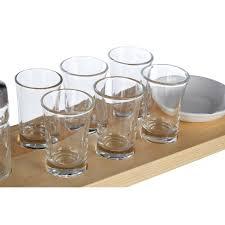 tequila shot glass set wooden tray six shot
