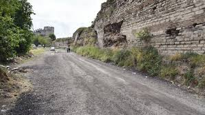 Temporary Asphalt Laid At Yedikule Walls Site In Istanbul
