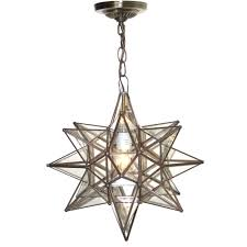 moravian star pendant chandelier small clear glass by worlds away acs110