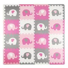Tadpoles Elephants And Hearts Pink Grey 50 In X 50 In Eva Playmat Set
