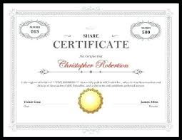 Stock Certificate Templates Word Publisher Free Limited