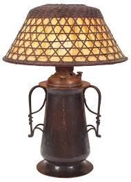 gustav stickley lamp 294 bold form with two twisted iron handles riveted to