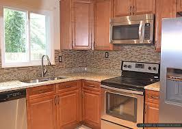brown glass stone tile backsplash ideas