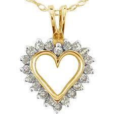 10k yellow gold 1 4ct tdw diamond heart pendant k l i2 i3
