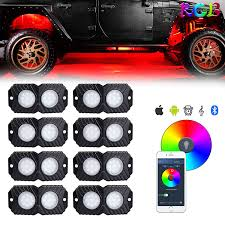 Bright Rock Lights Movotor Rgb Led Rock Lights Multicolor Neon Led Light Kit With Timing Music Mode For Underglow Off Road Truck Jeep Utv Atv Boat 8 Pods