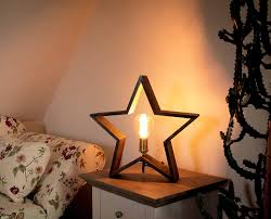 Details Zu Weihnachtsstern Holz Braun 47x48cm Inkl Leuchtmittel 90 Lumen 2000k E27