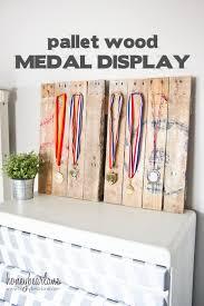 pallet sports medal display honeybear lane wooden run medal hanger