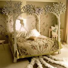 Bedroom:Amazing Bedroom Design With White Tree Branch Bed Frame And Yellow  Floral Bed Cover