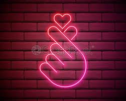 k pop neon sign sign of finger heart