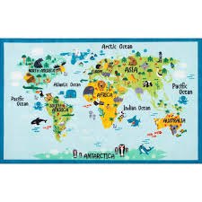 animal world map baby blue 3 ft x 5 ft area rug
