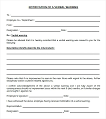 Verbal Warning Letter Template Free Copy 29 Of Employee Written ...