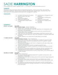 Production Worker Job Description Resume Assembler For Beautiful