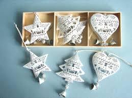 6 Teiliges Metall Baumbehang Set Weiß Barockstil