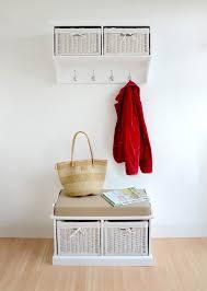 tetbury small white coat rack and bench set