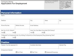 job application form template 4 customizable employee job application forms pdf word