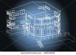 Architectural Design Blueprint Public Building Artistic Stock Vector