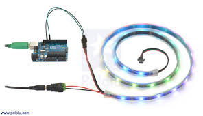 pololu addressable rgb 60 led strip 5v 2m ws2812b controlling an addressable rgb led strip an arduino and powering it from a 5v wall power adapter
