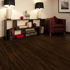 black color best no gap floating vinyl plank flooring over concrete for modern minimalist living room design with white brick wall dark red leather chair