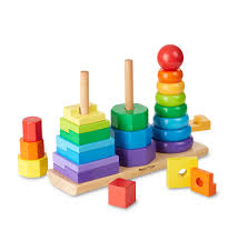 melissa doug geometric stacker wooden toy