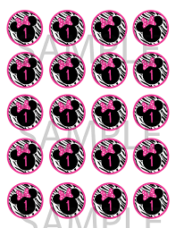 Pink And Black Minnie Mouse Decorations Pink And Black Zebra Minnie Mouse Cupcake Toppers Treat Bag Tags