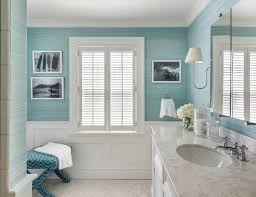 bathroom with wainscoting. Pretty Bathroom With Wall Pictures And Blue Color Also Wainscoting : Is Decorative C