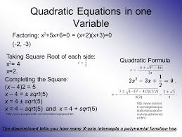 quadratic equations in one variable