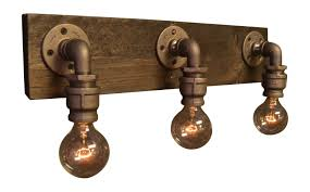 industrial chic lighting. Farmhouse Light - Reclaimed Wood Industrial Chic Bathroom Lighting Handmade