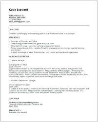 Department Store Manager Resumes Sample Retail Marketing Resume Resume Template Retail Resume Sample