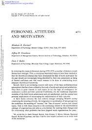 Pdf Personnel Attitudes And Motivation