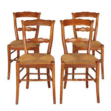 skillful rush seat dining chairs set of 4 antique italian vine french country ladder back