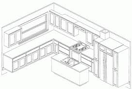 Kitchen Design Plans Template Isometric In Different Shades Of Hands And  Software. Sketch Of Pencil Nice Design