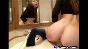Teen Riding Dildo Bathroom