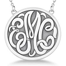 engraved initial circle monogram pendant necklace in sterling silver
