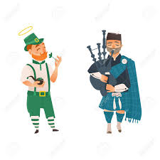 vector vector cartoon people in united kingdom national costumes set scotland man bagpiper in traditional clothing holding bagpipe and irish man in