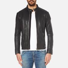 boss orange men s jofynn leather jacket black image 1