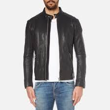 boss orange men s jofynn leather jacket black image 1