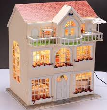 dollhouse lighting. Contemporary Dollhouse Fairy Homeland DIY Wooden Dollhouse Lighting Threestoreyed House Gift With  Light For D