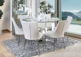 ikon mirrored round dining table ikon dining table with white chairs