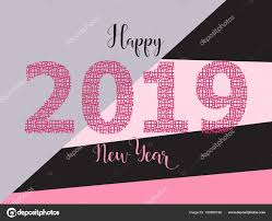 2019 Happy New Year card design. trendy color — Stock Vector ...