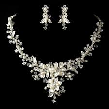 silver diamond white freshwater pearl crystal necklace earrings jewelry set