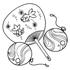 団扇うちわとヨーヨー白黒夏のイラスト無料素材