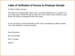 Sample Income Verification Letter Income Verification Letter 100