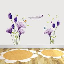 Romantic Bedroom Wall Decor Purple Lily Flower Wall Decals Stickers Bedroom Lounge
