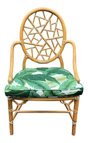 mcguire furniture company laced. Vintage McGuire Palm Cushion Cracked Ice Rattan Chair Mcguire Furniture Company Laced